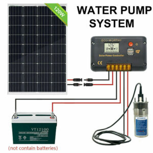 Submersible Solar Water Pump System Pump Kit 12V Deep & 120W Solar Panel