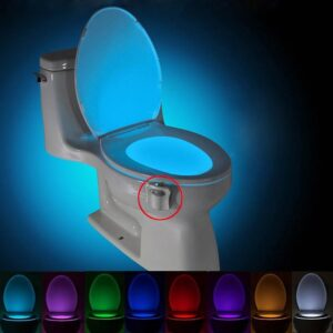 BRELONG Toilet Night light LED Lamp Smart Bathroom Human Motion Activated PIR 8 Colors Automatic RGB Backlight for Toilet Bowl Lights
