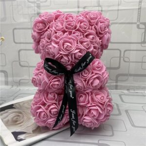 Rose Teddy Bear NEW Valentines Day Gift 25cm Flower Bear Artificial Decoration